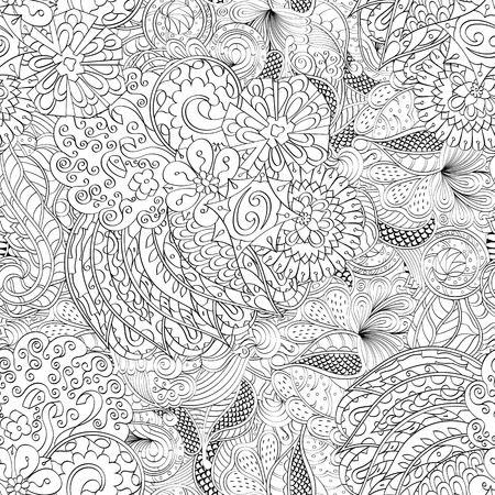 festival scales: Tracery seamless calming pattern. Mehendi design. Ethnic colorful harmonious doodle texture. Indifferent discreet. Curved doodling mehndi motif. Vector.