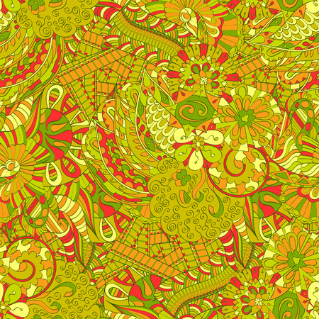mongoloid: Tracery seamless calming pattern. Mehendi design. Ethnic colorful harmonious doodle texture. Indifferent discreet. Curved doodling mehndi motif. Vector.