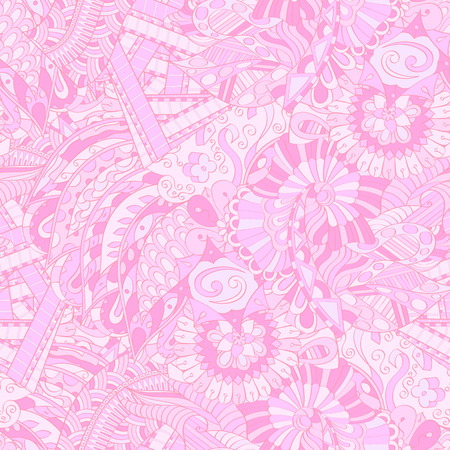 Tracery seamless calming pattern. Mehendi design. Ethnic colorful pink doodle texture. Indifferent discreet. Curved doodling mehndi motif. Vector.