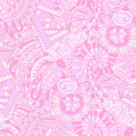 Tracery seamless calming pattern. Mehendi design. Texture de doodle rose coloré et ethnique. Indifférent discret. Motif courbé de Mehndi. Vecteur.