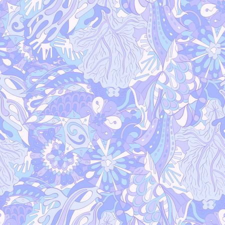 Nahtloses beruhigendes Muster Tracery. Mehendi Design. Ethnische bunte blaue Gekritzelbeschaffenheit. Gleichgültig diskret. Gekrümmtes doodling mehndi Motiv. Vektor.