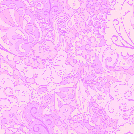 Tracery seamless calming pattern. Mehendi design. Ethnic pastel violet doodle texture. Indifferent discreet. Curved doodling mehndi motif. Vector. Illustration