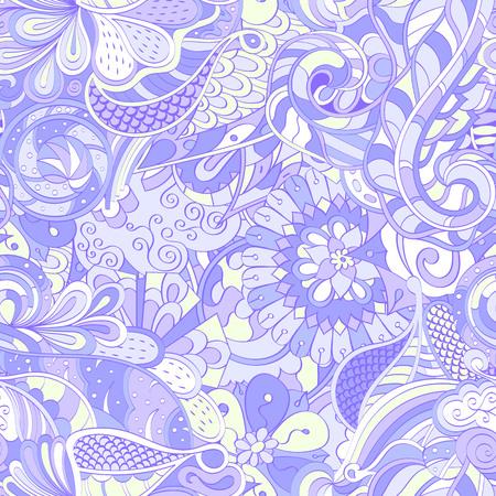 Tracery seamless calming pattern. Mehendi design. Ethnic pastel violet doodle texture. Indifferent discreet. Curved doodling mehndi motif. Vector. Иллюстрация