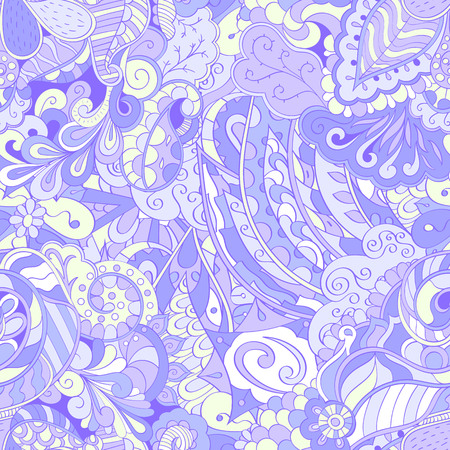 Tracery nahtloses beruhigendes Muster. Mehendi Design. Ethnische Pastellviolett-Gekritzel-Textur. Gleichgültig diskret. Gekrümmtes doodling mehndi Motiv. Vektor. Vektorgrafik