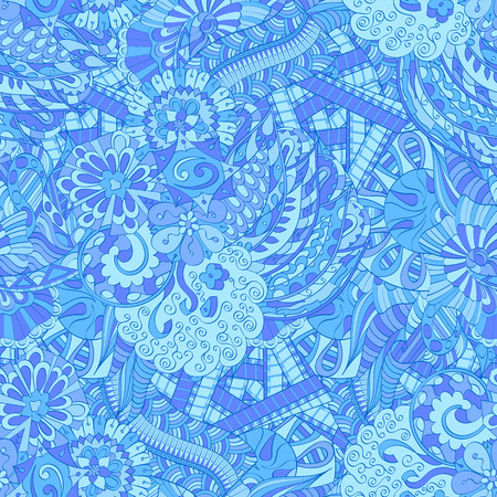 discreet: Tracery seamless calming pattern. Mehendi design. Ethnic colorful blue doodle texture. Indifferent discreet. Curved doodling mehndi motif. Vector.