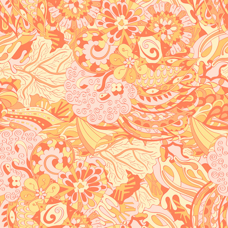 Tracery seamless calming pattern. Mehendi design. Ethnic orange doodle texture. Indifferent discreet. Curved doodling mehndi motif. Vector.
