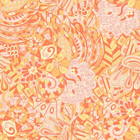 Tracery seamless calming pattern. Mehendi design. Ethnic orange doodle texture. Indifferent discreet. Curved doodling mehndi motif. Vector.