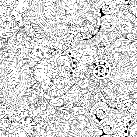 extravagant: Tracery seamless calming pattern. Mehendi design. Ethnic colorful harmonious doodle texture. Indifferent discreet. Curved doodling mehndi motif. Vector.