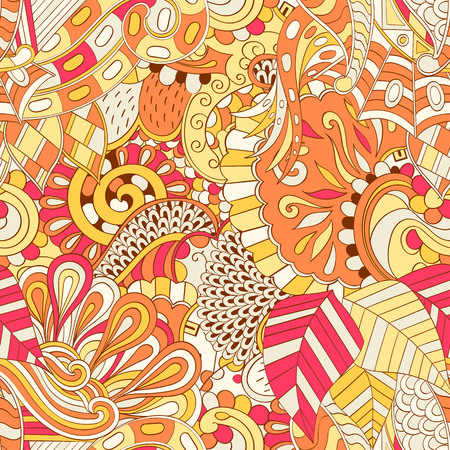 Tracery seamless calming pattern. Mehendi design. Ethnic colorful orange doodle texture. Indifferent discreet. Vector Illustration