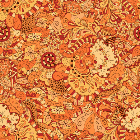 mongoloid: Tracery seamless calming pattern. Mehendi design. Ethnic colorful orange doodle texture. Indifferent discreet. Curved doodling mehndi motif. Vector.