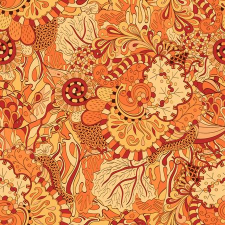 Tracery seamless calming pattern. Mehendi design. Ethnic colorful orange doodle texture.