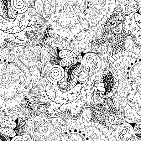 festival scales: Tracery seamless calming pattern. Mehendi design. Ethnic monochrome binary harmonious doodle texture.