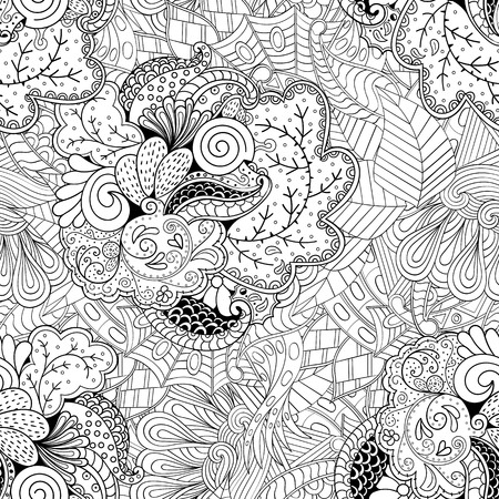 Tracery seamless calming pattern. Mehendi design. Ethnic monochrome binary harmonious doodle texture. Black and white. Indifferent discreet. Curved doodling mehndi motif.