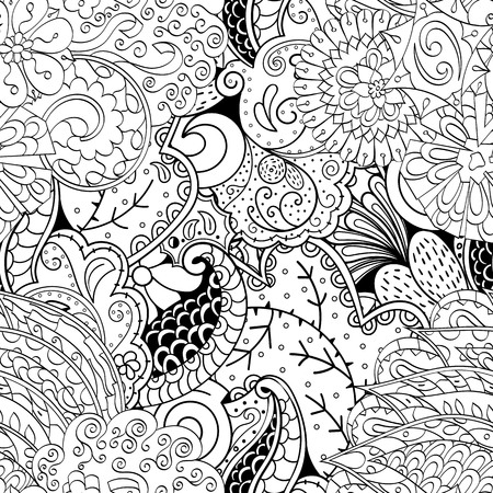 festival scales: Tracery seamless calming pattern. Mehendi design. Ethnic monochrome binary harmonious doodle texture. Black and white. Indifferent discreet. Curved doodling mehndi motif. Vector.
