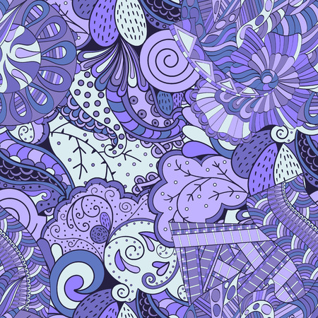 Tracery seamless calming pattern. Mehendi design. Ethnic colorful violet doodle texture. Indifferent discreet. Curved doodling mehndi motif. Vector. Illustration