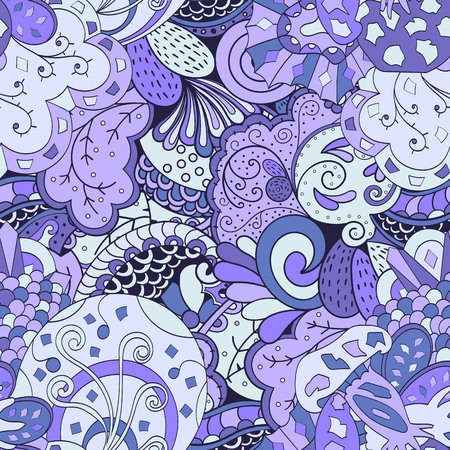 Tracery seamless calming pattern. Mehendi design. Ethnic colorful violet doodle texture. Indifferent discreet. Curved doodling mehndi motif. Vector. Vector Illustration