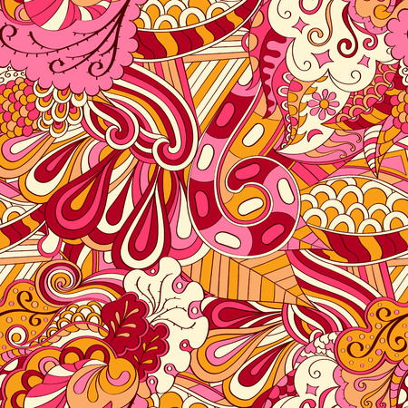 Tracery nahtloses beruhigendes Muster. Mehendi Design. Ethnische bunte harmonische doodle Textur. Gleichgültig diskret. Gekrümmtes doodling mehndi Motiv. Vektor.