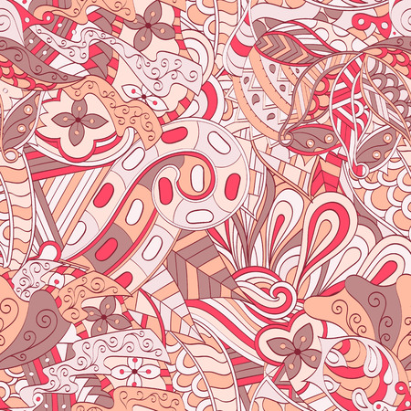 Tracery seamless calming pattern. Mehendi design. Ethnic colorful red doodle texture. Indifferent discreet. Curved doodling mehndi motif. Vector. Illustration