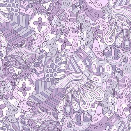 Tracery seamless calming pattern. Mehendi design. Ethnic violet doodle texture. Indifferent discreet. Curved doodling mehndi motif. Vector. Illustration