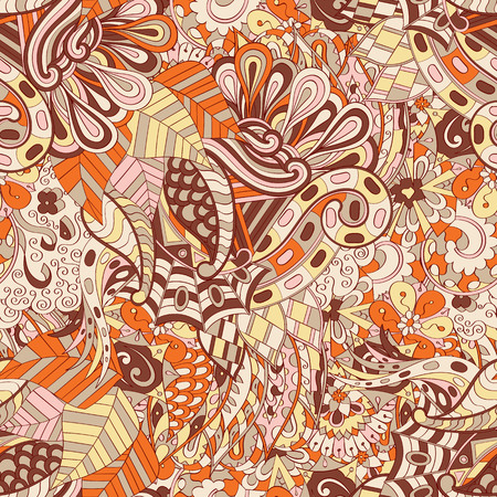 Tracery seamless calming pattern. Mehendi design. Ethnic colorful brown doodle texture.