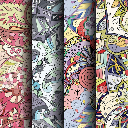 festal: Set of tracery colorful seamless patterns. Curved doodling backgrounds for textile or printing with mehndi and ethnic motives. Vector Illustration