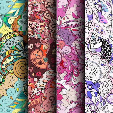Set of tracery colorful seamless patterns. Curved doodling backgrounds for textile or printing with mehndi and ethnic motives. Vector Illustration