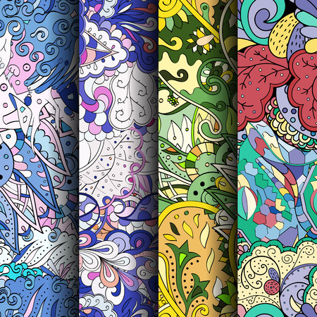 Set of tracery colorful seamless patterns. Curved doodling backgrounds for textile or printing with mehndi and ethnic motives. Vector Ilustrace