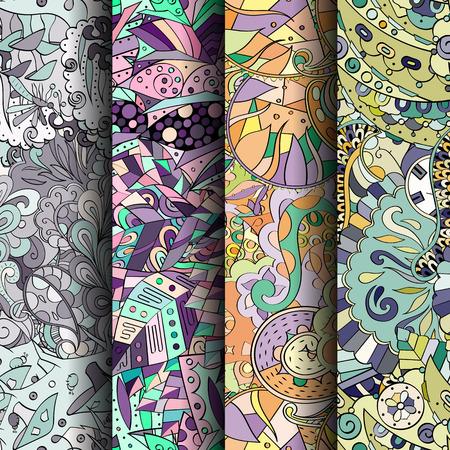 Conjunto de patrones transparentes coloridos tracery. Rayas verticales. Curvado doodling fondos para textiles o impresión con mehndi y motivos étnicos. Vector Foto de archivo - 77627520