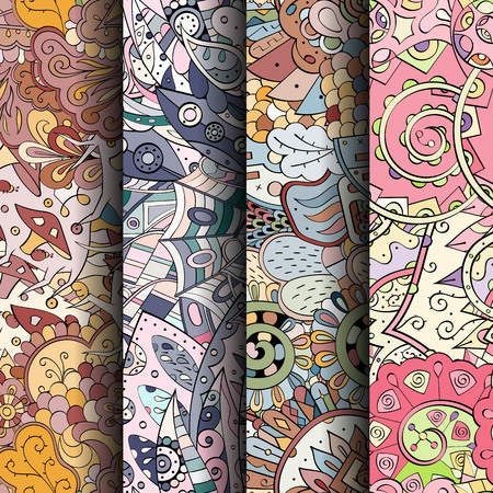 feminity: Set of tracery colorful seamless patterns. Vertical stripes. Curved doodling backgrounds for textile or printing with mehndi and ethnic motives. Vector