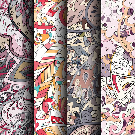 Set of colorful seamless patterns. Illustration
