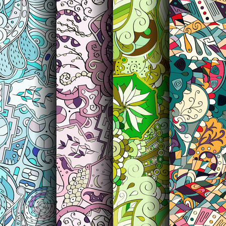 nippon: Set of tracery colorful seamless patterns. Vertical stripes.