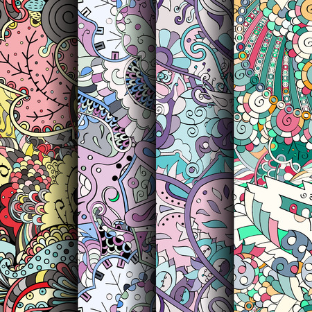 figura: Set of tracery colorful seamless patterns. Vertical stripes. Curved doodling backgrounds for textile or printing with mehndi and ethnic motives. Vector