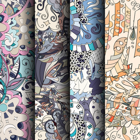 nippon: Set of tracery colorful seamless patterns. Vertical stripes. Curved doodling backgrounds for textile or printing with mehndi and ethnic motives. Vector