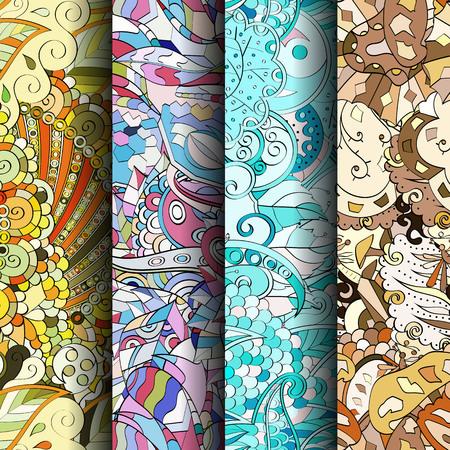 figura: Jogo de testes padrões sem emenda coloridos do tracery. Listras verticais. Curvado doodling fundos para têxteis ou impressão com mehndi e motivos étnicos. Vetor