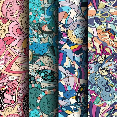 Ensemble de motifs sans soudure colorés de l'entrelacs. Rayures verticales. Arrière-plans de griffonnage incurvés pour le textile ou l'impression avec des motifs ethniques et mehndi. Vecteur