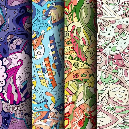 幾何学模様のカラフルなシームレス パターンのセットです。縦縞。繊維または一時的な刺青と民族的動機と印刷のだらだら背景を湾曲しました。ベ