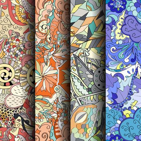 Jogo de testes padrões sem emenda coloridos do tracery. Listras verticais. Curvado doodling fundos para têxteis ou impressão com mehndi e motivos étnicos. Vetor