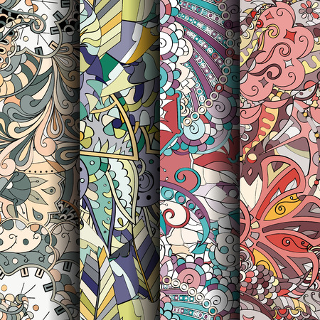 Set of tracery colorful seamless patterns. Vertical stripes. Curved doodling backgrounds for textile or printing with mehndi and ethnic motives. Vector