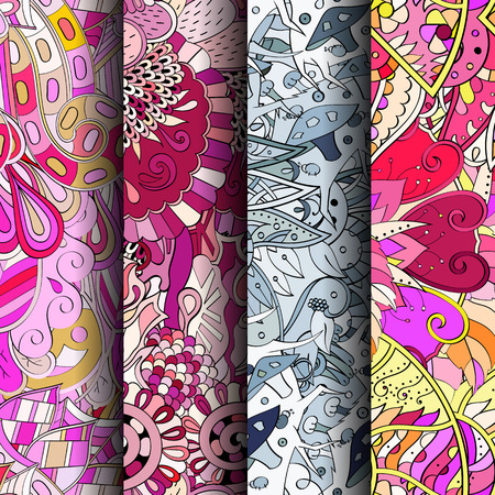 Set of tracery colorful seamless patterns. Vertical stripes. Curved doodling backgrounds for textile or printing with mehndi and ethnic motives vector Illustration