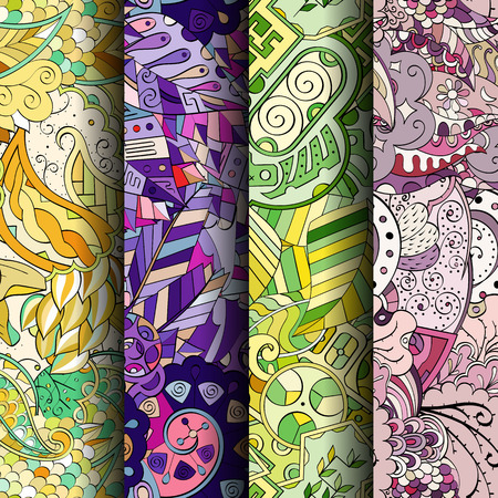 original single: Set of tracery colorful seamless patterns. Vertical stripes. Curved doodling backgrounds for textile or printing with mehndi and ethnic motives. Vector