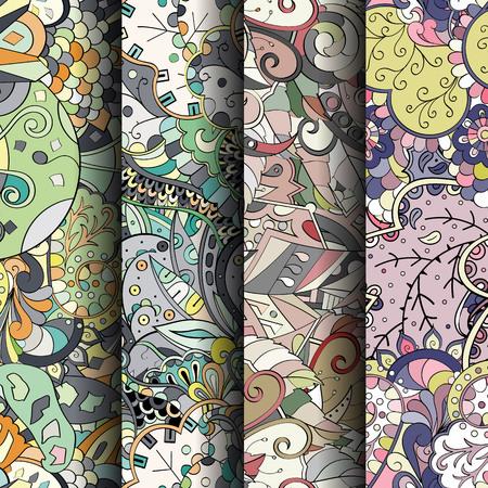 Conjunto de tracería coloridos patrones sin fisuras. Rayas verticales. Fondos doodling curvados para textiles o estampados con mehndi y motivos étnicos. Vector