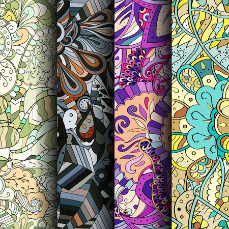 mongoloid: Set of tracery colorful seamless patterns. Vertical stripes. Curved doodling backgrounds for textile or printing with mehndi and ethnic motives. Vector