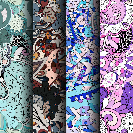 Conjunto de patrones transparentes coloridos tracery. Rayas verticales. Curvado doodling fondos para textiles o impresión con mehndi y motivos étnicos. Vector