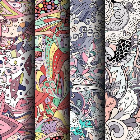 Conjunto de tracería coloridos patrones sin fisuras.