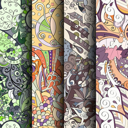 Set of colorful patterns, curved doodling for textile or printing.