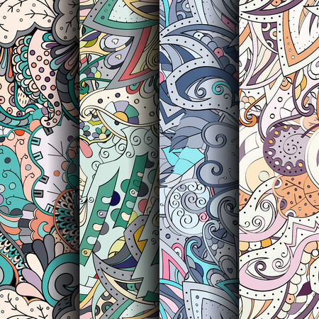 festival scales: Set of tracery colorful seamless patterns. Vertical stripes. Curved doodling backgrounds for textile or printing with mehndi and ethnic motives. Vector