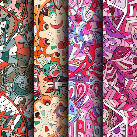 funny pictures: Set of tracery colorful seamless patterns. Vertical stripes. Curved doodling backgrounds for textile or printing with mehndi and ethnic motives. Vector