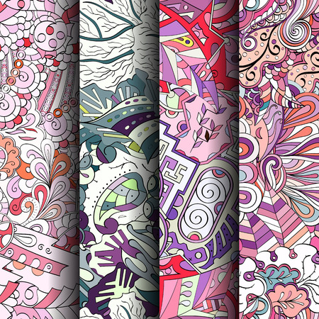 festal: Set of tracery colorful seamless patterns. Vertical stripes. Curved doodling backgrounds for textile or printing with mehndi and ethnic motives. Vector
