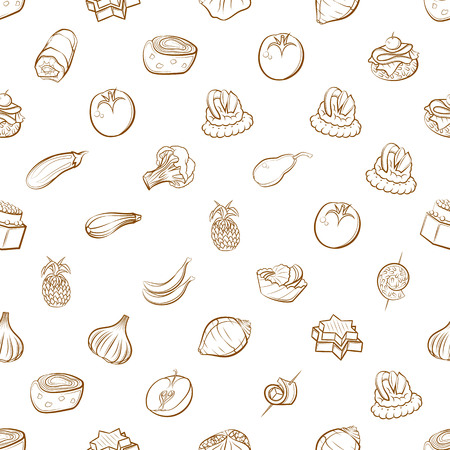 Fruits, Snacks and Vegetables set. Background for printing, design, web. Usable as icons. Seamless. Binary color.