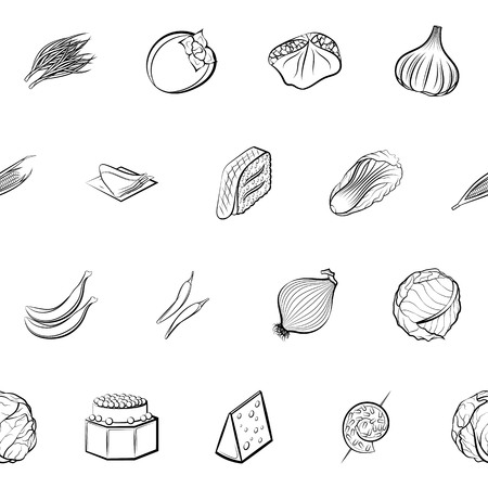 Cheeses, Fruits, Snacks, Table setting and Vegetables set. Background for printing, design, web. Usable as icons. Seamless. Monochrome binary, black and white.